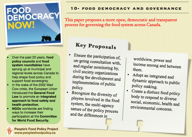 """Governments and Policy-Makers """"Food Systems In Canada"""